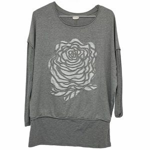 IS Collection grey white rose pullover long sleeve